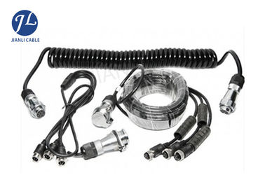 7 Pin Spring Coiled Electrical Cable With 3 AV Inputs For Rearview Car Camera System