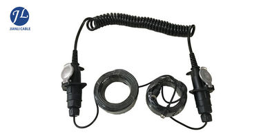 Black Spring Electrical Spiral Power Cord For Trailer Truck Backup Monitor System